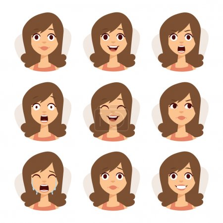 Illustration for Woman emotions expression icons and beauty woman emotions vector. Isolated set of woman avatar expressions face emotions vector illustration - Royalty Free Image