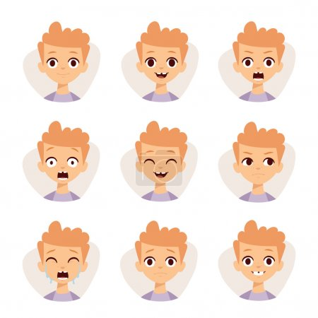 Illustration for Funny boy emotions and cute boy portrait emotions avatars. Illustration featuring boy kids showing different facial expressions emotions cartoon vector - Royalty Free Image
