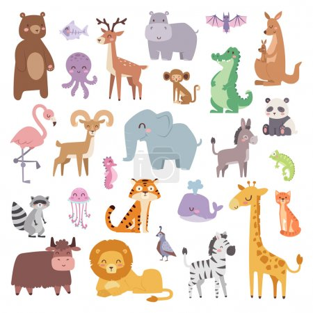 Illustration for Cartoon animals character and wild cartoon cute animals collections vector. Cartoon zoo animals big set wildlife mammal flat vector illustration - Royalty Free Image
