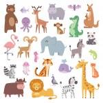 Cartoon animals character and wild cartoon cute an...