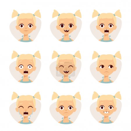 Illustration for Girl emotions avatar face feelings and cartoon girl emotions vector illustration. Smiley icons set of cute girls with different emotions vector illustration - Royalty Free Image