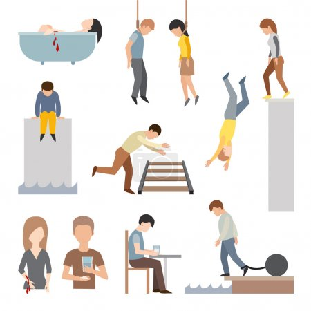 Illustration for Suicide people cartoon symbols and suicide flat character alone people vector. Suicidal commit suicide people methods stick cartoon figure flat vector icons - Royalty Free Image