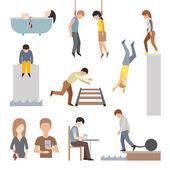 Suicidal commit suicide people methods stick cartoon figure flat vector icons