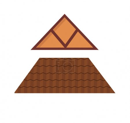 Triangular metal house roof cartoon architecture construction vector.