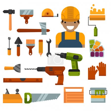 Building, home repair and decoration works tools vector.