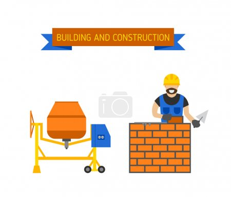 Illustration for Builders people in hardhats with plastering tools indoors brick wall, trowel concrete mixer. Builders people concept. Business, builders people building, teamwork professional worker vector concept - Royalty Free Image