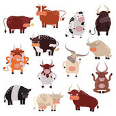 Cartoon cow action set, with cute lovely heifer in different poses vector.