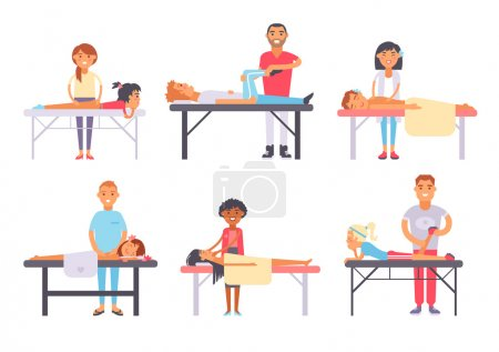 Illustration for People different massage and health care people massage. Wellness treatment people body massage, lifestyle skin skin care face massage. Relaxing people massage different spa heath care vector. - Royalty Free Image
