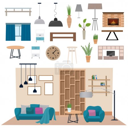 Modern living room interior with wood floor apartment furniture vector illustration.