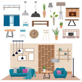 Modern living room interior with wood floor apartment furniture vector illustration