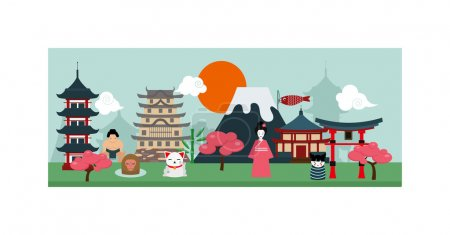 Japan poster scenery banners concept culture design vector.