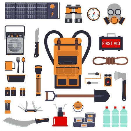 Illustration for Survival emergency kit for evacuation vector objects set. Survival kit equipment flashlight knife items and survival travel kit. Survival kit camp tool backpacking exploration tourism hiking disaster. - Royalty Free Image