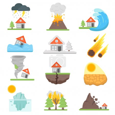 Illustration for Home insurance business set vector illustration with house icons suffering from natural events or disasters. Layout natural events, disasters template for infographics. Danger natural events. - Royalty Free Image