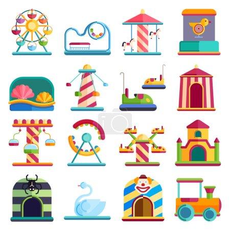 Flat design conceptual city elements with carousels amusement park vector illustration.