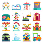 Flat design conceptual city elements with carousels amusement park vector illustration