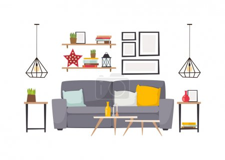Apartment interior vector illustration.