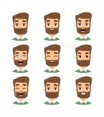 Bearded man face vector illustration