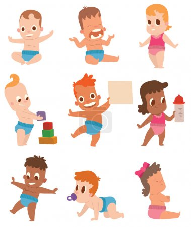 Baby kids vector illustration.