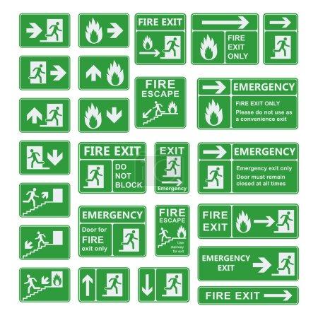 Illustration pour Ensemble de vecteurs de signaux de sortie d'urgence. Sortie incendie, sortie de secours, point de rassemblement incendie, voie d'évacuation, extincteur. Pour usage d'urgence seulement, aucun panneau de sortie du bâtiment de rentrée. Panneau de sortie avertissement vert . - image libre de droit