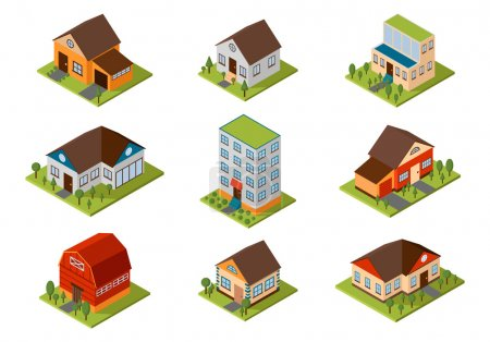 Illustration for Modern homes and isometric house small to large. Isometric homes architecture real estate. Modern homes and isometric cottage houses. Isometric house property residential isolated building. - Royalty Free Image