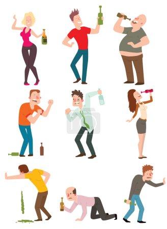 Illustration pour Dessin animé vectoriel personnes ivres avec bouteille d'alcool illustration. Les gens ivres bouteille homme et verre alcoolique vin fête alcoolisme style de vie les gens ivres. Les gens ivres heureux beau célibataire gars . - image libre de droit