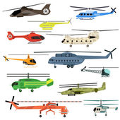 Helicopters vector set