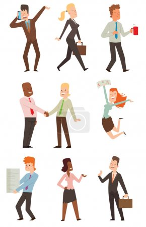 Illustration for Group of smiling business people. Isolated business people. Collection of full length portraits business people and vector set business people characters. Business people team character. - Royalty Free Image