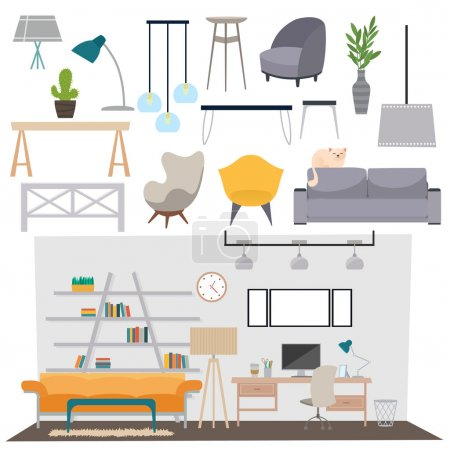 Illustration for Vector flat illustration parlour interior set abstract isolated rooms apartment, house parlour interior. Home parlour interior design. Parlour interior salon and parlour interior modern decoration. - Royalty Free Image