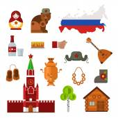 Russia landmarks symbols and Russia icons Set of Russia themed design elements balalaika Russian maiden samovar and matryoshka doll Russia culture building famous tourism religion symbols