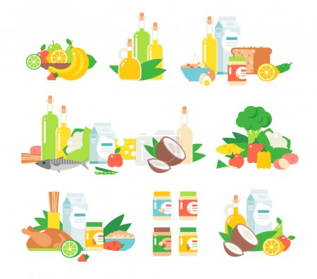 Illustration for Set of traditional food icons and food vector. Food vector design restaurant lunch and food vector tasty snack eat fish flat element. Food vector cheese junk fast food, traditional food vector dishes. - Royalty Free Image