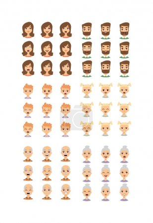 Illustration for Group of different people faces and People faces diversity group. People faces vector character and people faces set. Cute children people faces and different senior head cheerful diverse people. - Royalty Free Image