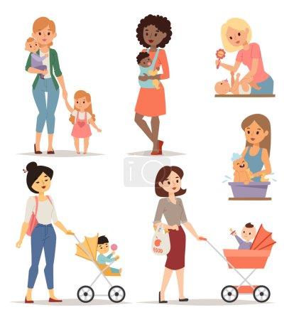Illustration pour Mère tenant son parc mignon de petite fille et jeune mère parent heureux. Ensemble jeune mère vecteur et jeune mère fille mignonne. Ensemble nouveau-né visage jeune mère style de vie maternité joyeuse . - image libre de droit