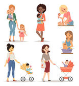Young mother vector illustration