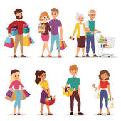 Collection going shopping people with shopping bags Shopping people woman and man with bags Shopping people collection Flat style people in shopping mall supermarket grocery shop figure vector