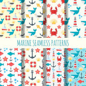 Marine seamless pattern vector set
