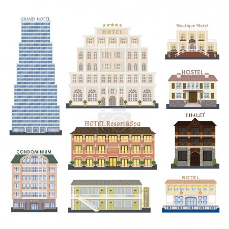 Hotel buildings vector illustration.