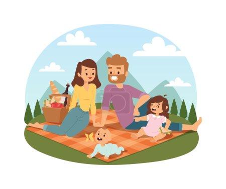Familie Picknick Sommer Vektor