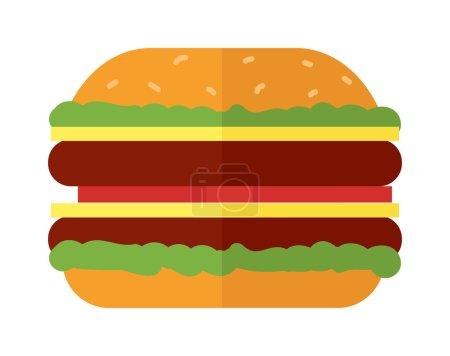 Illustration pour Grand hamburger sur fond blanc et illustration vectorielle de hamburger. Burger sandwich grillé au fromage et en collation grand burger américain cheeseburger délicieuse cuisine. Restaurant classique savoureux fast food . - image libre de droit