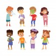 Постер, плакат: Sick children vector set