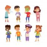 Постер, плакат: Sick children vector set