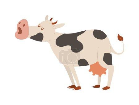Illustration pour Lait vache taureau buffle personnage de dessin animé. Cartoon vache couleur boeuf de ferme laitière, animal de ferme domestique nature. Action de vache de dessin animé, avec génisse mignon différent dans le vecteur de pose . - image libre de droit
