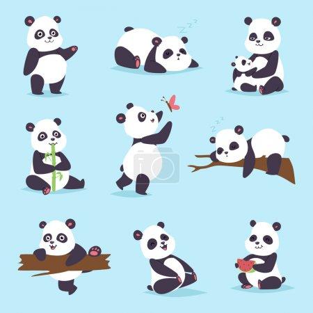 Illustration for Panda cartoon character in various expression. Animal white cute china black panda bear giant mammal fat wilderness rare. Lying woods panda bear eating bamboo china wild animals vector character. - Royalty Free Image