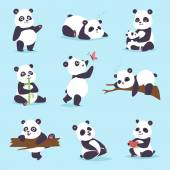 "Постер, картина, фотообои ""Панда Векторный набор."""