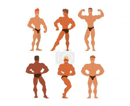 Mens physics bodybuilders vector illustration.