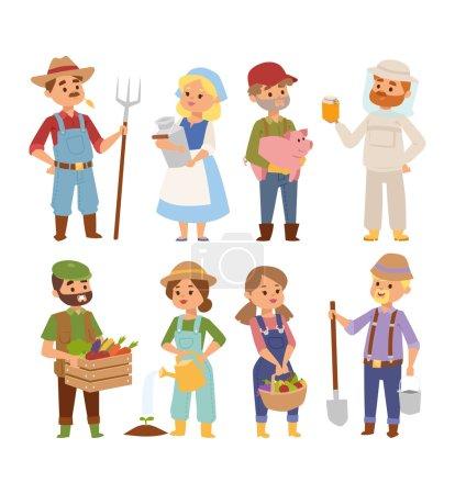 Illustration pour Ensemble vectoriel d'agriculteurs villageois avec de la nourriture biologique, des fleurs et des plantes. Caractère d'été légumes jardin récolte agriculteurs gens. Agriculture agriculteurs gens travaillent plantes nature jardinage . - image libre de droit