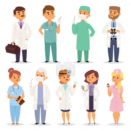 Different doctors charactsers vector set.