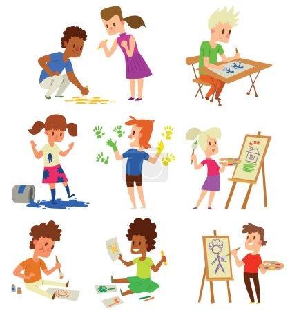 Illustration pour Garçon et fille artiste enfants enfants. Education artiste enfants enfants peinture autour de toile vierge avec de l'espace pour le texte. Créatif petit artiste enfants enfants préscolaire personnages colorés vecteur . - image libre de droit