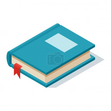 Illustration for Isometric book icon vector illustration in flat design style isolated on white. Academic book learning symbol, reading school sign. Knowledge reading design isolated science university text book cover - Royalty Free Image
