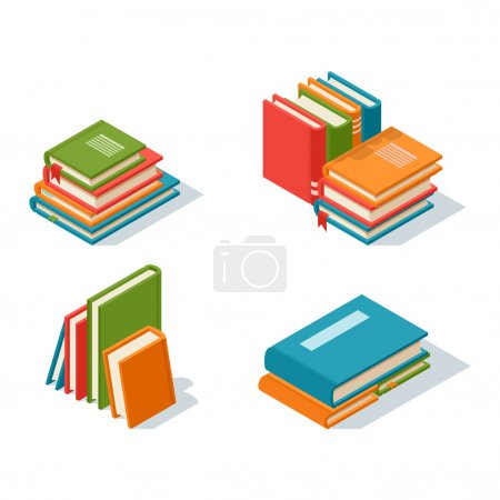 Isometric book icon vector illustration in flat de...