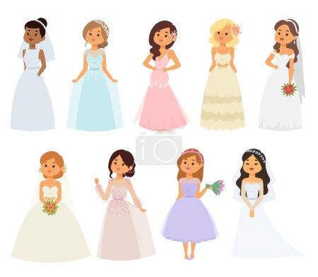 Illustration pour Mariée fille en robe blanche isolé sur blanc. Mariée fille modèle mariée jolie glamour romantique dame. Femme portant robe blanche de mariage fille de mode luxe jeune personnage vecteur . - image libre de droit